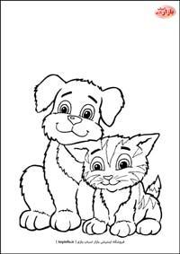 نقاشی سگ و گربه مهربان