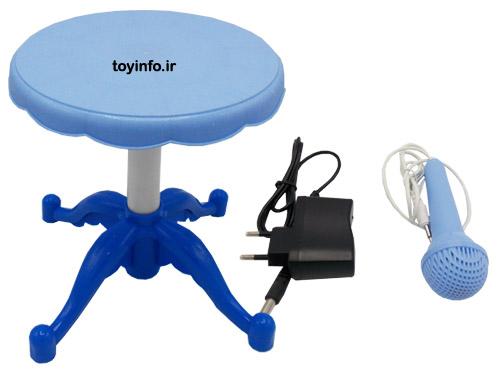 صندلی ،آداپتور و میکروفون پیانو پایه دار آبی