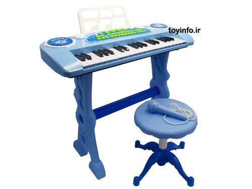 تصویر کلی پیانو پایه دار آبی و قطعات آن از زاویه جانبی
