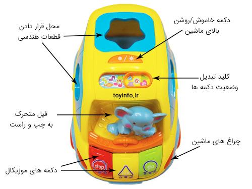 ماشین موزیکال اسباب بازی با رنگ های شاد و جذاب