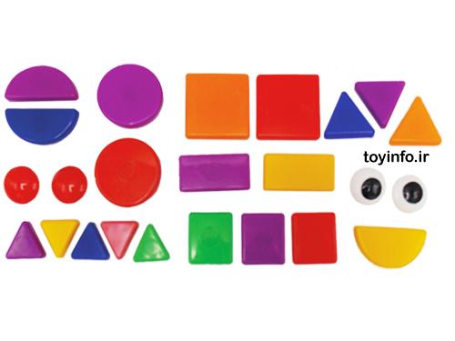 قطعه های گوناگون بازی فکری با اشکال هندسی و رنگ های متنوع
