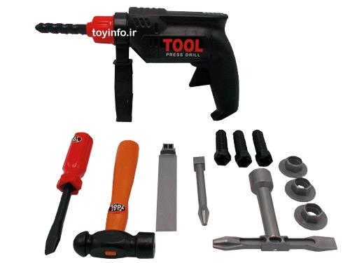 جعبه ابزار کار شامل دریل و چکش و پیچ و مهره های پلاستیکی برای بازی پسربچه ها