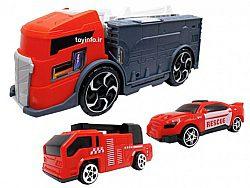 کامیون آتش نشانی به همراه ماشین های کوچک