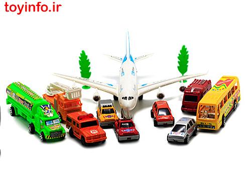 مجموعه ماشین های ست فرودگاه همراه هواپیمای دم آبی